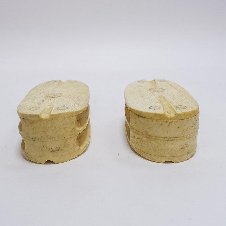 Pr. Scrimshaw Whalebone Sailor Made Double Blocks - 2