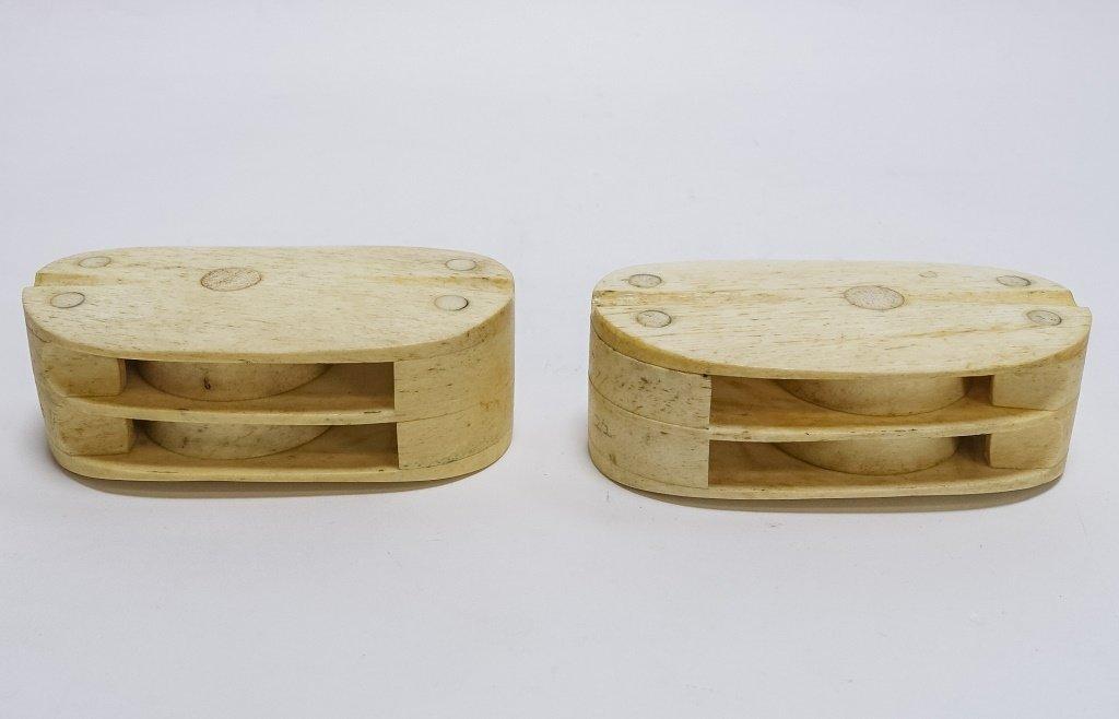Pr. Scrimshaw Whalebone Sailor Made Double Blocks - 3