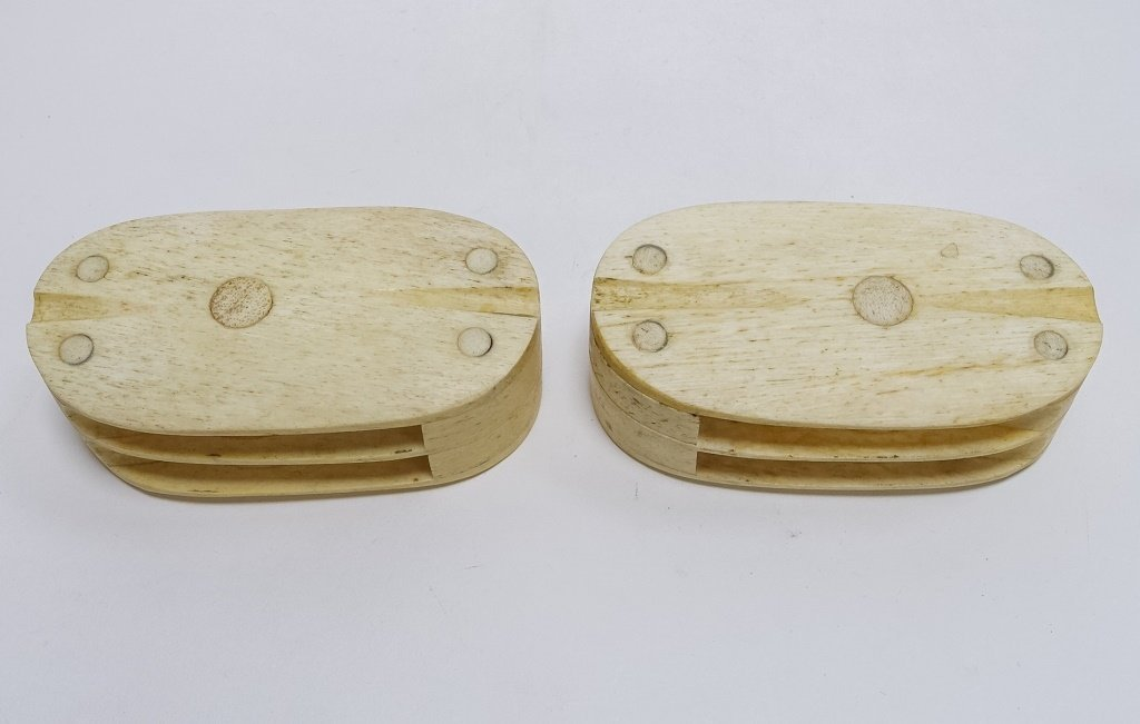 Pr. Scrimshaw Whalebone Sailor Made Double Blocks - 4