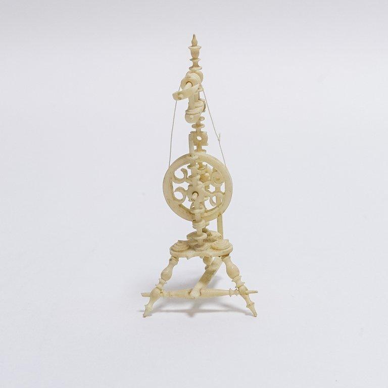 19C. Carved Bone Miniature Spinning Wheel