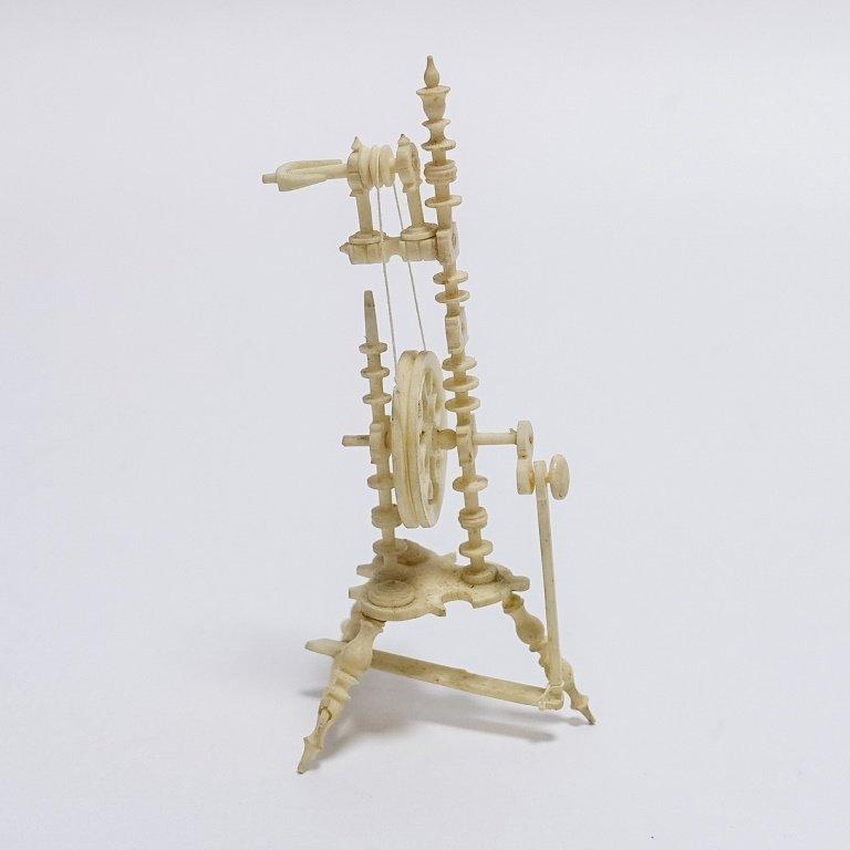19C. Carved Bone Miniature Spinning Wheel - 2