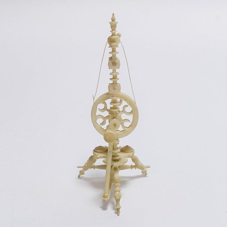 19C. Carved Bone Miniature Spinning Wheel - 3