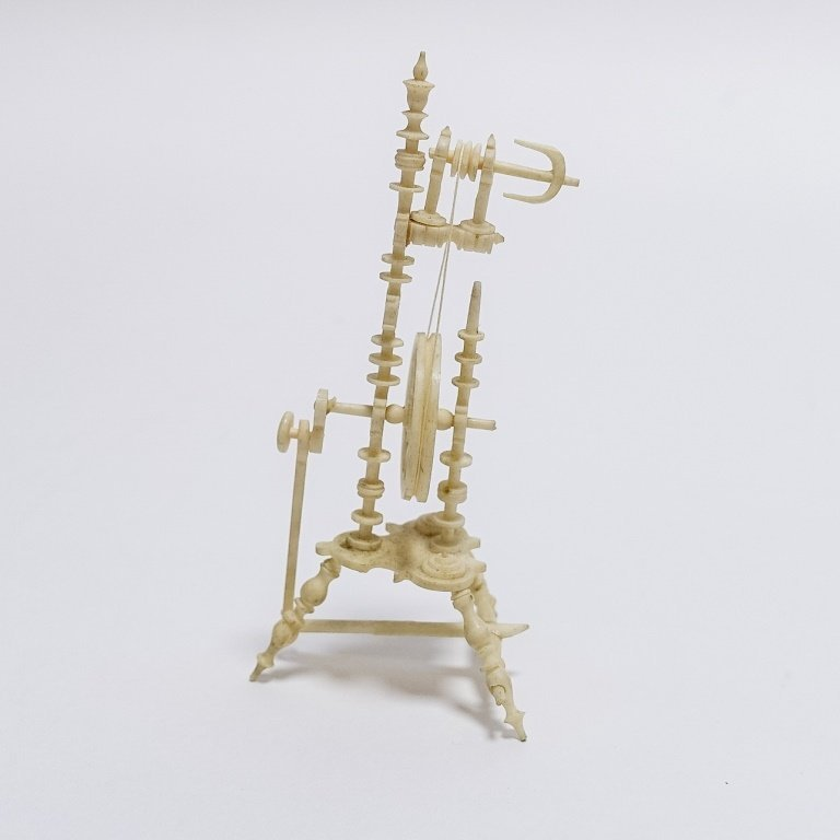 19C. Carved Bone Miniature Spinning Wheel - 4