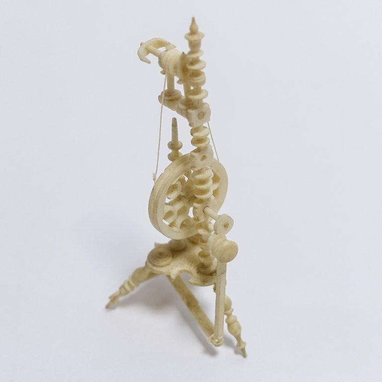 19C. Carved Bone Miniature Spinning Wheel - 5