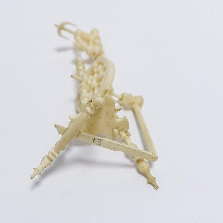 19C. Carved Bone Miniature Spinning Wheel - 6