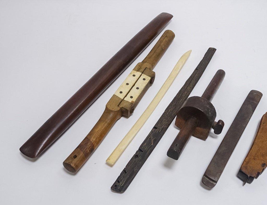 9 Antique Carved Wood & Bone Nautical Tools