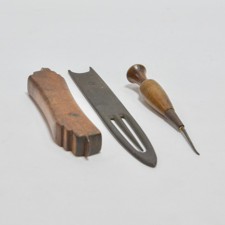 9 Antique Carved Wood & Bone Nautical Tools - 7