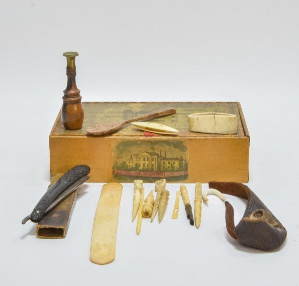 Antique Wooden Box Sailor Made Nautical Tools