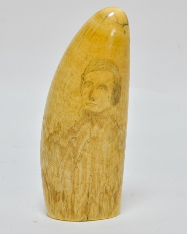 1860's Scrimshaw Civil War Soldier Whale Tooth
