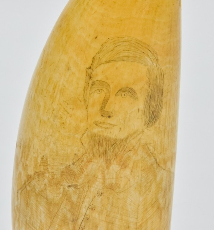 1860's Scrimshaw Civil War Soldier Whale Tooth - 2