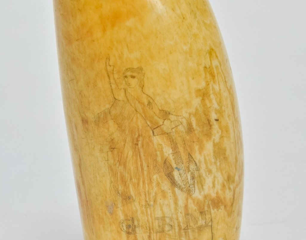 1860's Scrimshaw Civil War Soldier Whale Tooth - 4