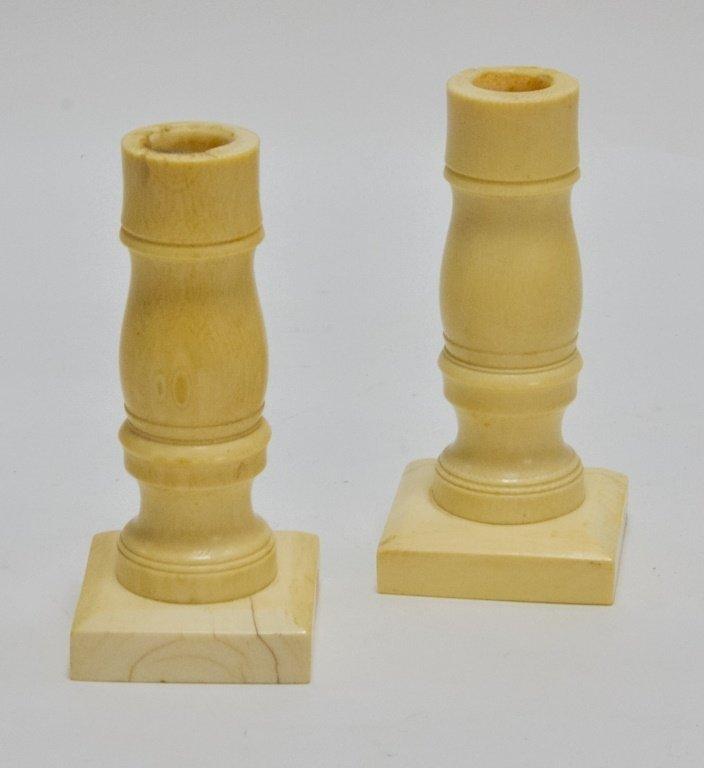 Pr. Antique 19C. Carved Ivory Candlesticks