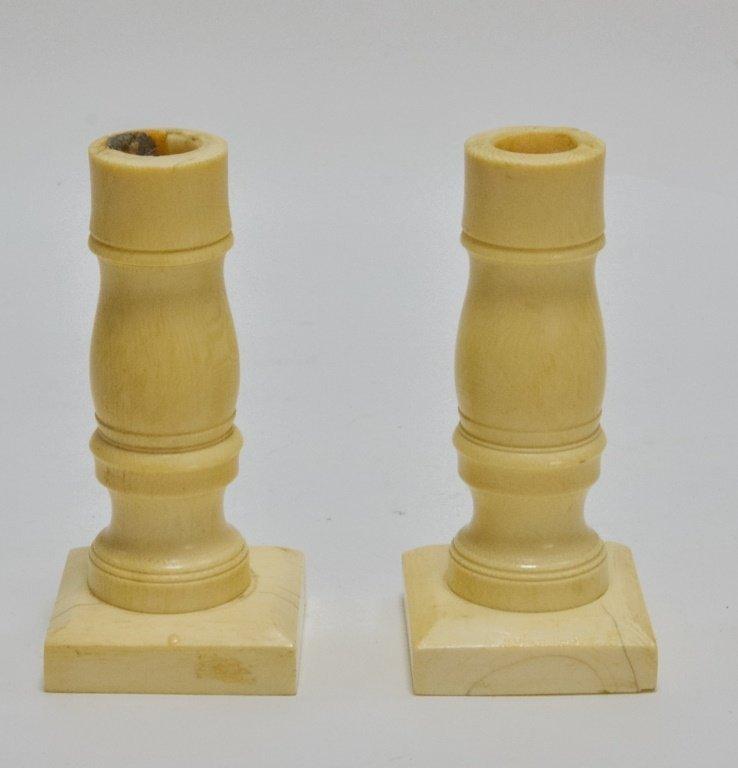 Pr. Antique 19C. Carved Ivory Candlesticks - 2