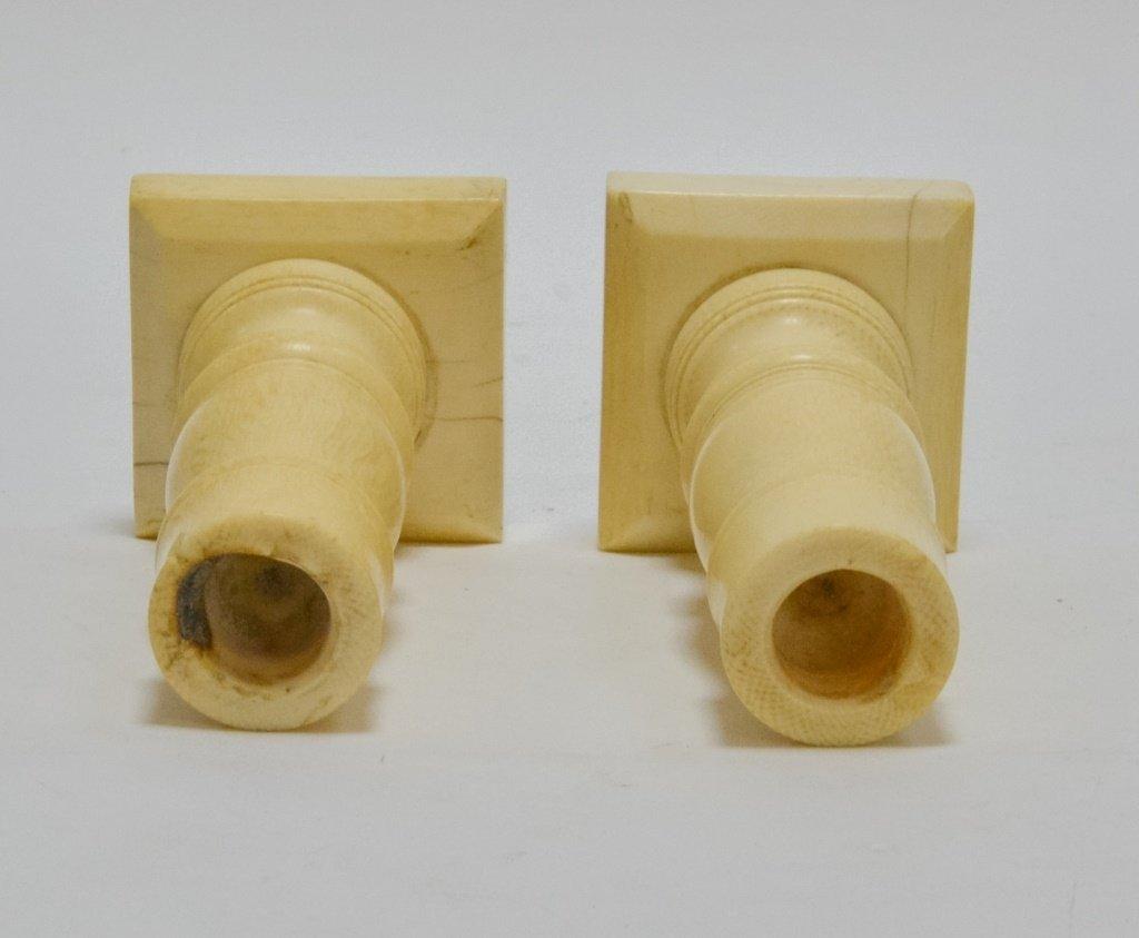 Pr. Antique 19C. Carved Ivory Candlesticks - 3