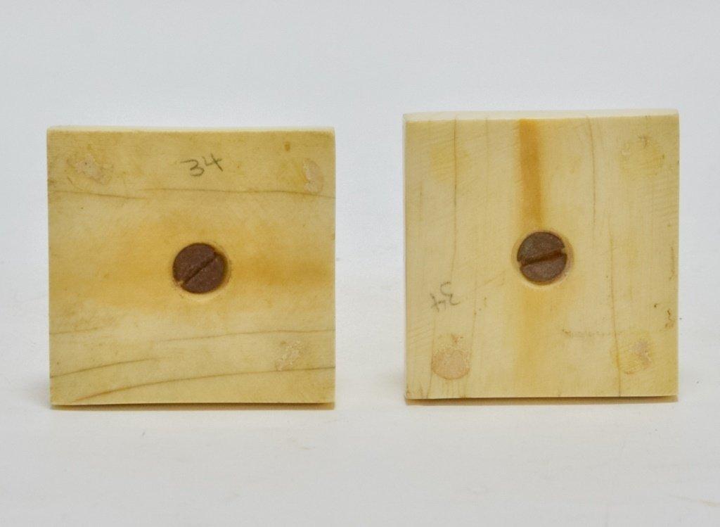 Pr. Antique 19C. Carved Ivory Candlesticks - 4