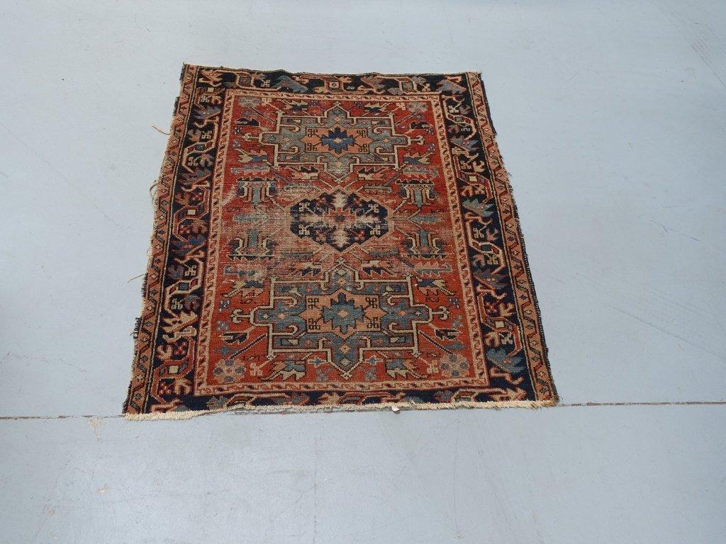 Antique C.1900 Persian Karaja Small Carpet Rug