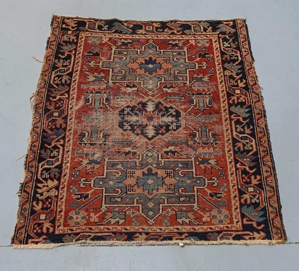 Antique C.1900 Persian Karaja Small Carpet Rug - 2