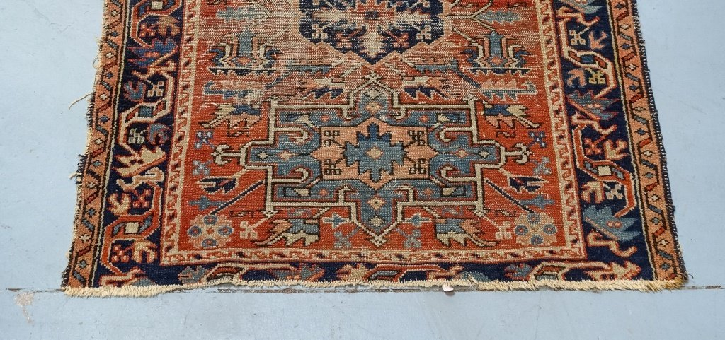 Antique C.1900 Persian Karaja Small Carpet Rug - 3