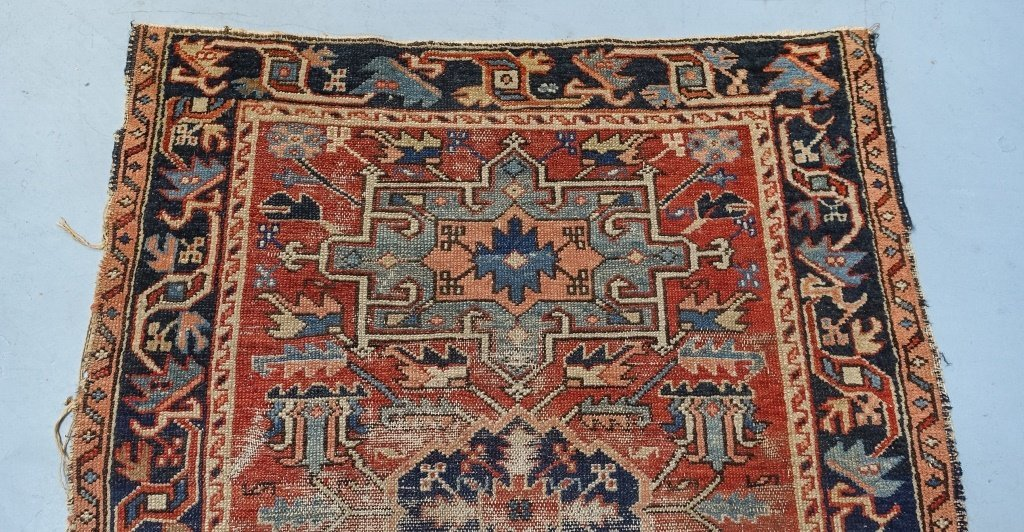 Antique C.1900 Persian Karaja Small Carpet Rug - 4