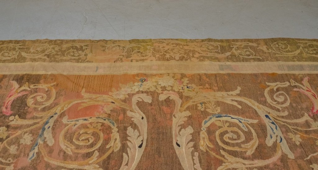 Antique 18C. French Aubusson Hour Glass Carpet Rug - 2