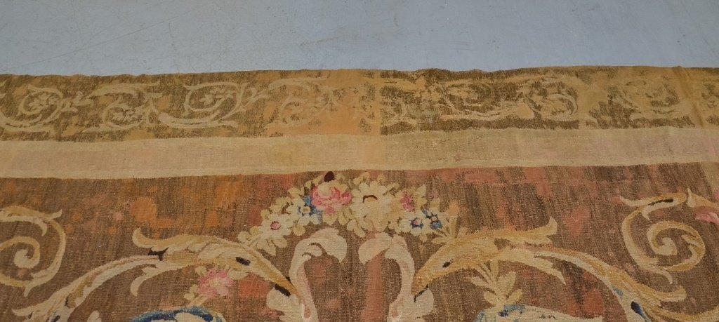 Antique 18C. French Aubusson Hour Glass Carpet Rug - 4