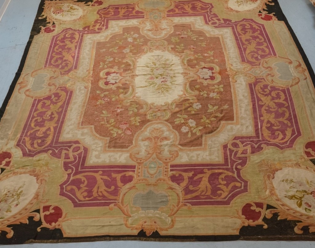 Large 18-19C. Colorful Aubusson Carpet Rug