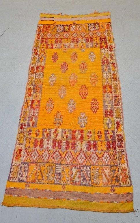 Hand Made Moroccan Yellow Berber Carpet Rug Runner