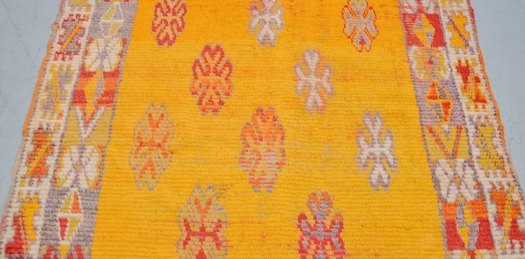 Hand Made Moroccan Yellow Berber Carpet Rug Runner - 3