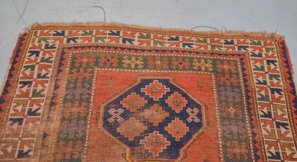 Antique C.1900 Caucasian Carpet Rug - 3
