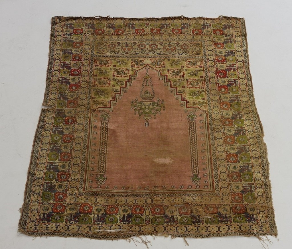 Antique 19C. Turkish Prayer Rug Carpet