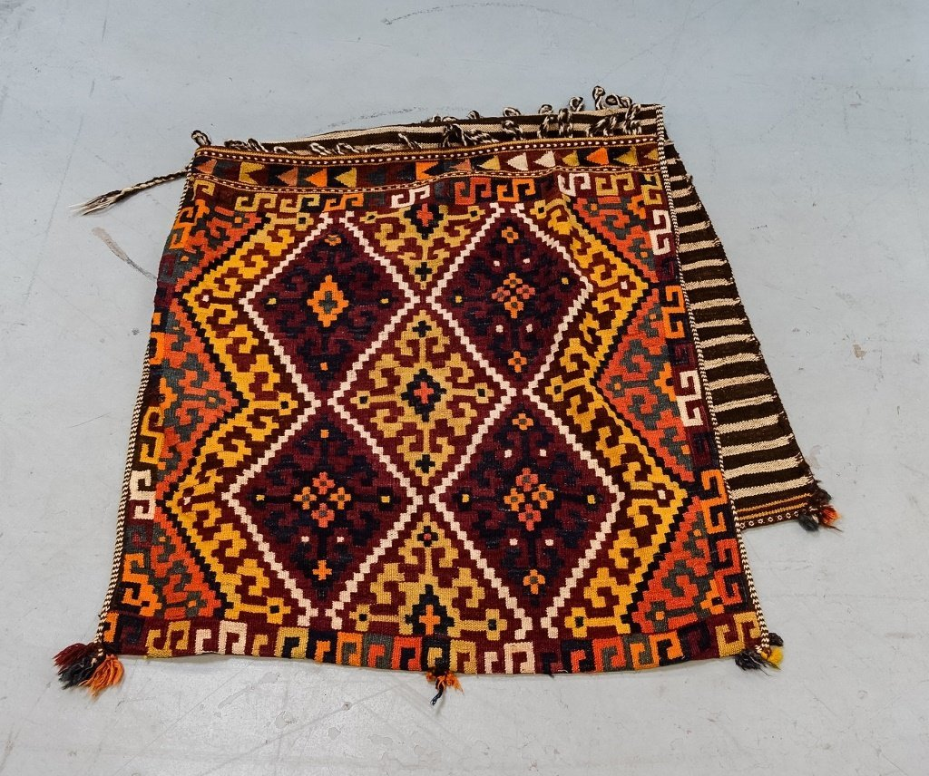 Semi-Antique Persian Bag Face Saddle Bag Rug