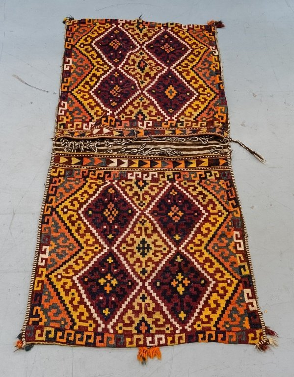 Semi-Antique Persian Bag Face Saddle Bag Rug - 2