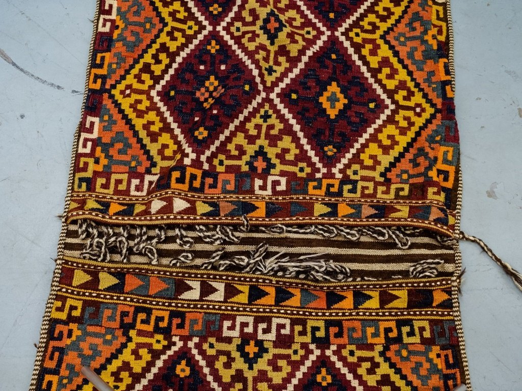 Semi-Antique Persian Bag Face Saddle Bag Rug - 4