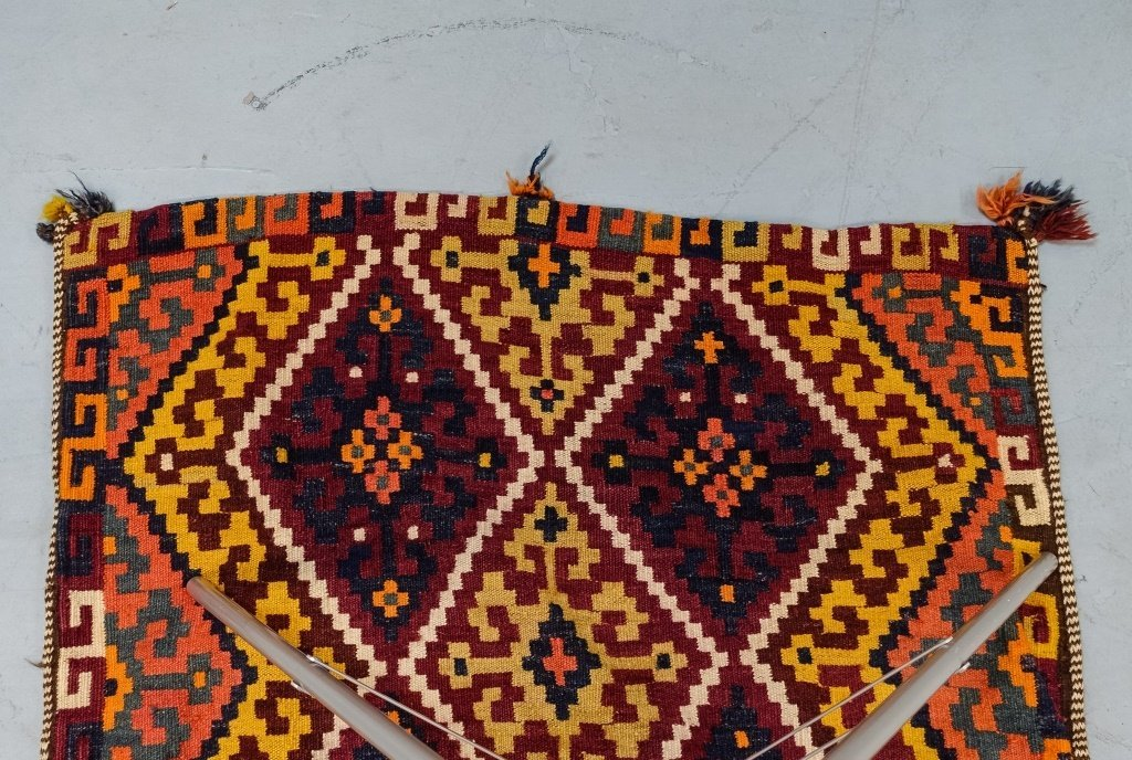 Semi-Antique Persian Bag Face Saddle Bag Rug - 5