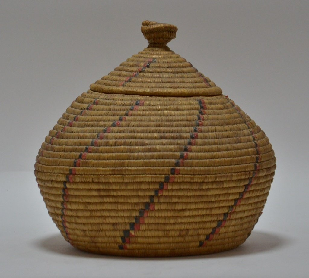19C Yupik Eskimo Grass Coil & Dyed Seal Gut Basket