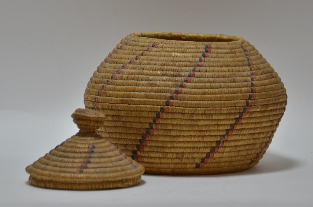 19C Yupik Eskimo Grass Coil & Dyed Seal Gut Basket - 2