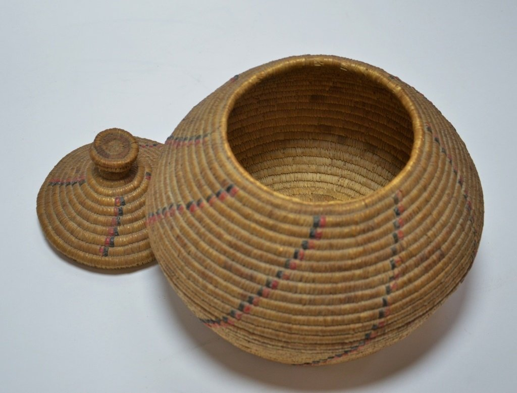 19C Yupik Eskimo Grass Coil & Dyed Seal Gut Basket - 3