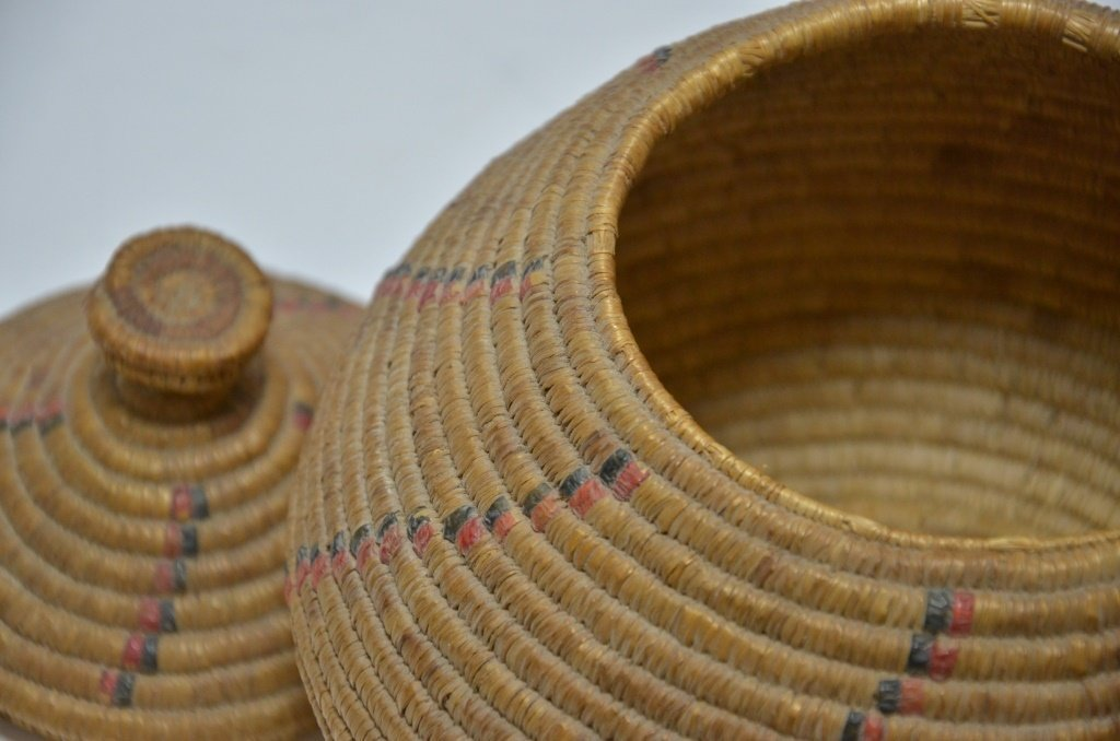 19C Yupik Eskimo Grass Coil & Dyed Seal Gut Basket - 4