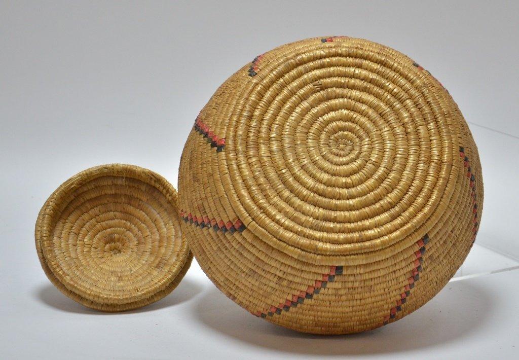 19C Yupik Eskimo Grass Coil & Dyed Seal Gut Basket - 5