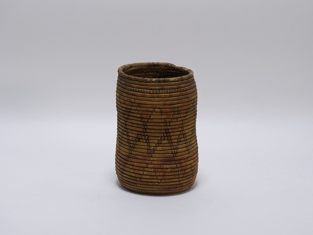 African Sudanese Geometric Tall Coil Basket - 2