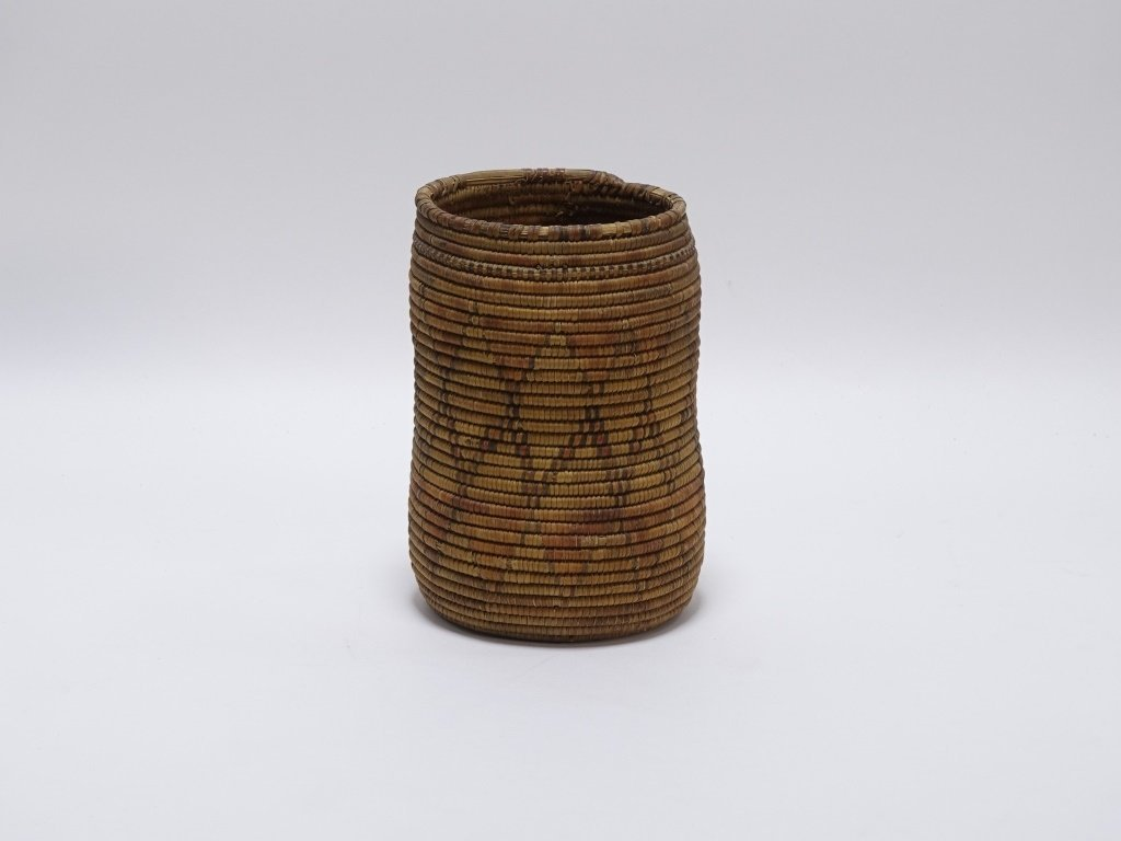 African Sudanese Geometric Tall Coil Basket - 3