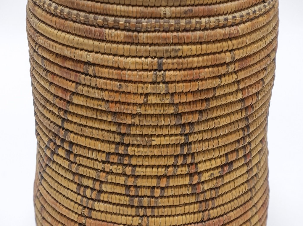 African Sudanese Geometric Tall Coil Basket - 5