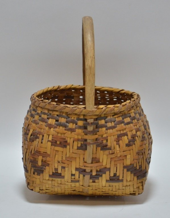 Cherokee Native American Splint Handled Basket - 2