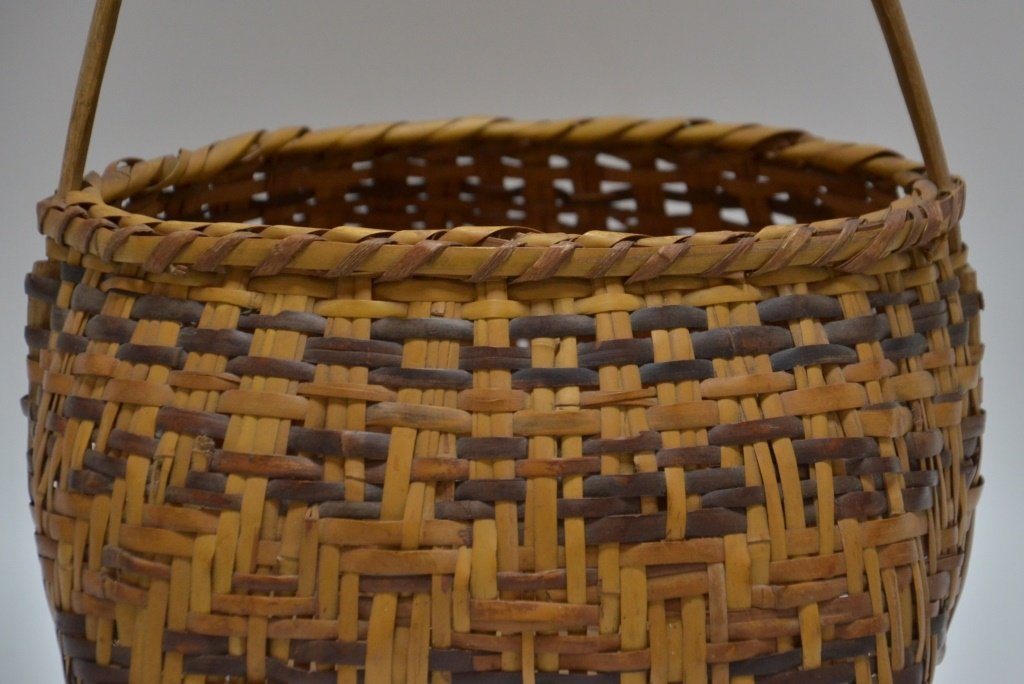 Cherokee Native American Splint Handled Basket - 3