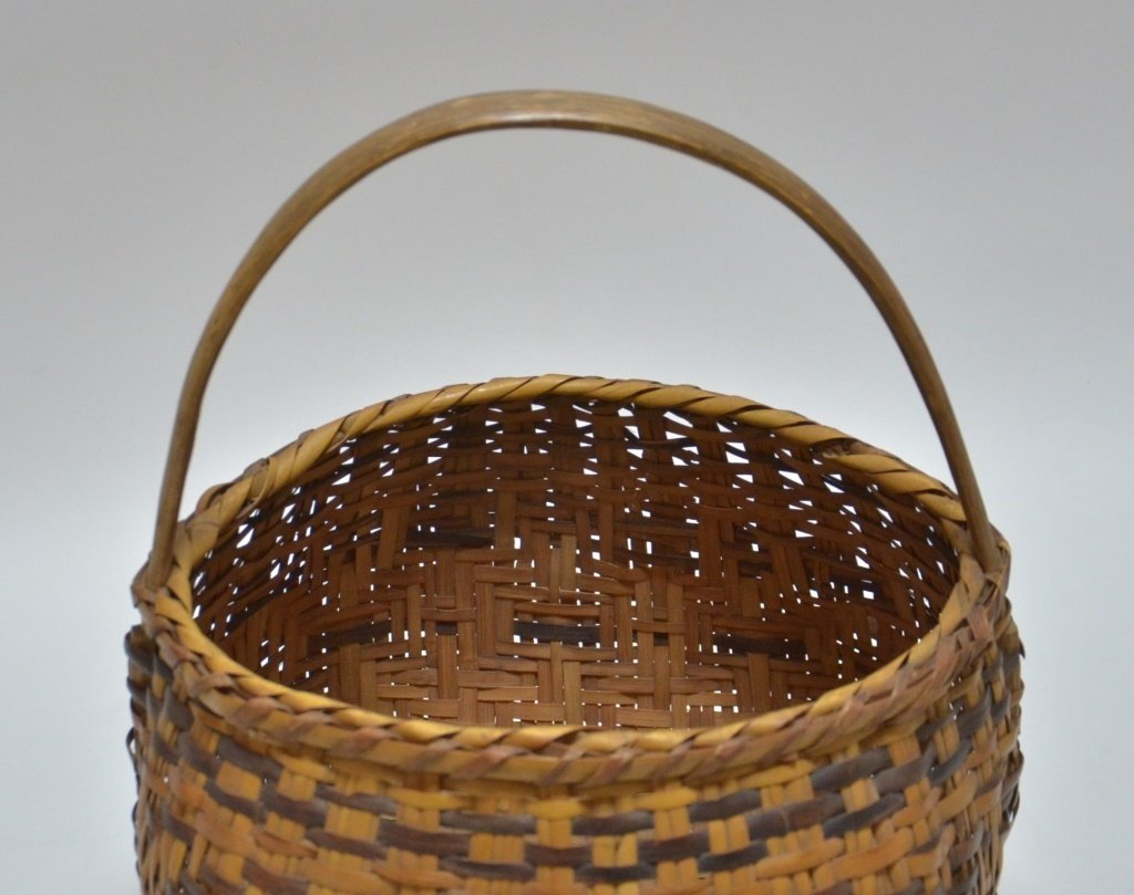 Cherokee Native American Splint Handled Basket - 5