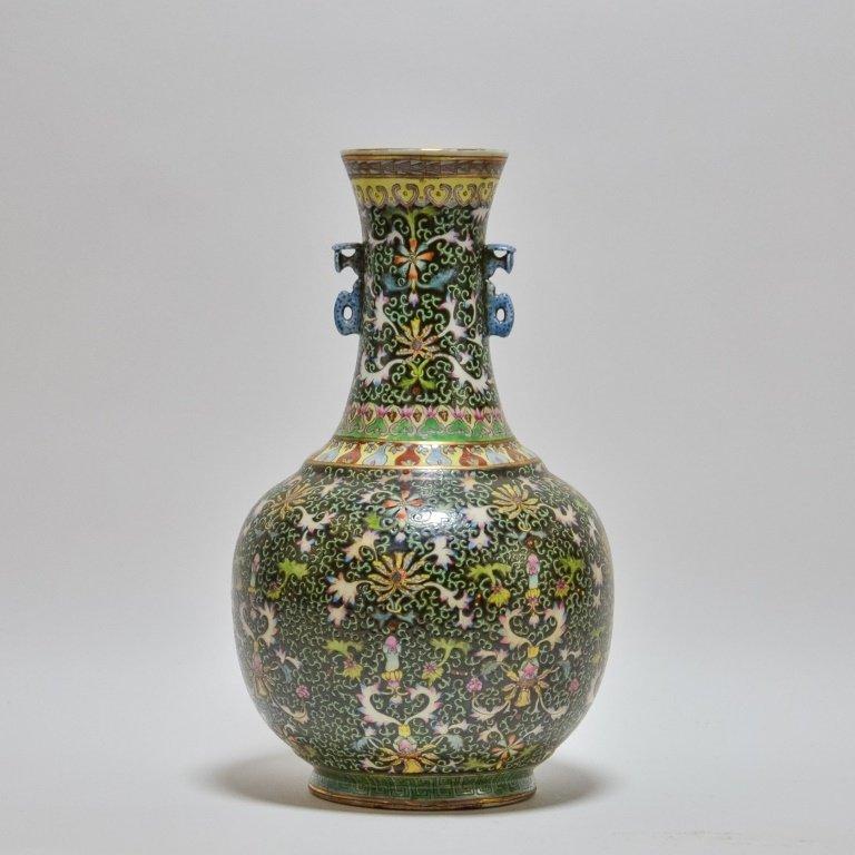 Chinese Famille Noire Green & Black Porcelain Vase