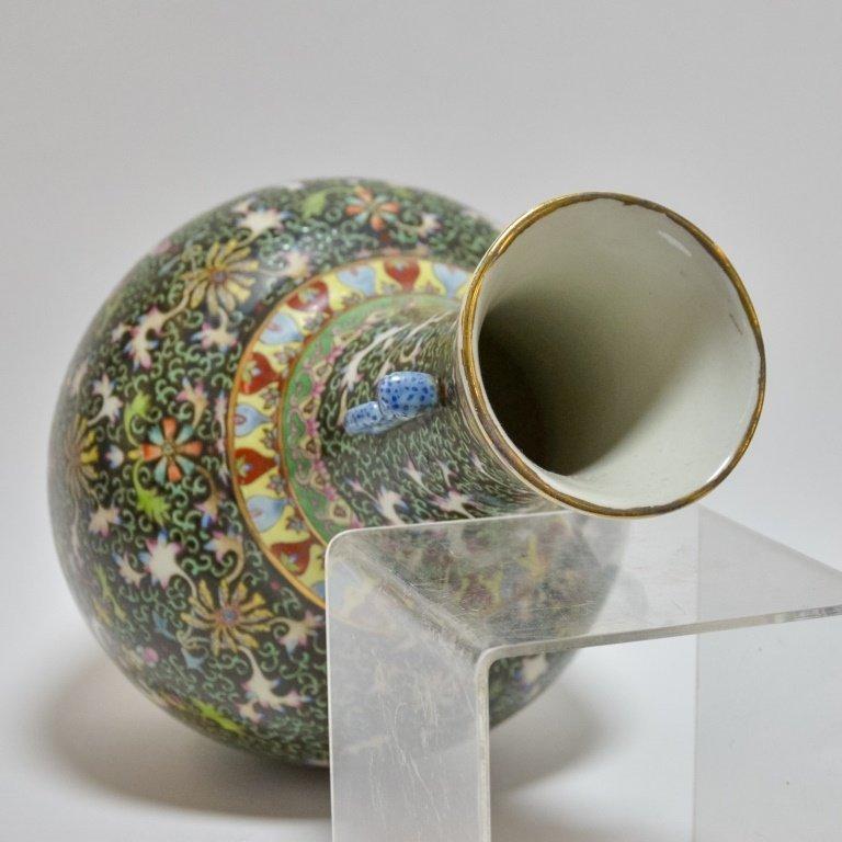 Chinese Famille Noire Green & Black Porcelain Vase - 3