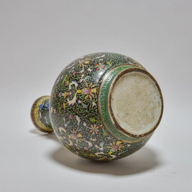 Chinese Famille Noire Green & Black Porcelain Vase - 4