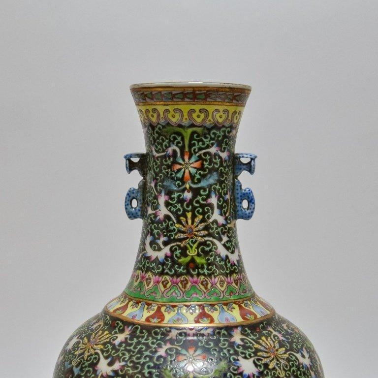 Chinese Famille Noire Green & Black Porcelain Vase - 5