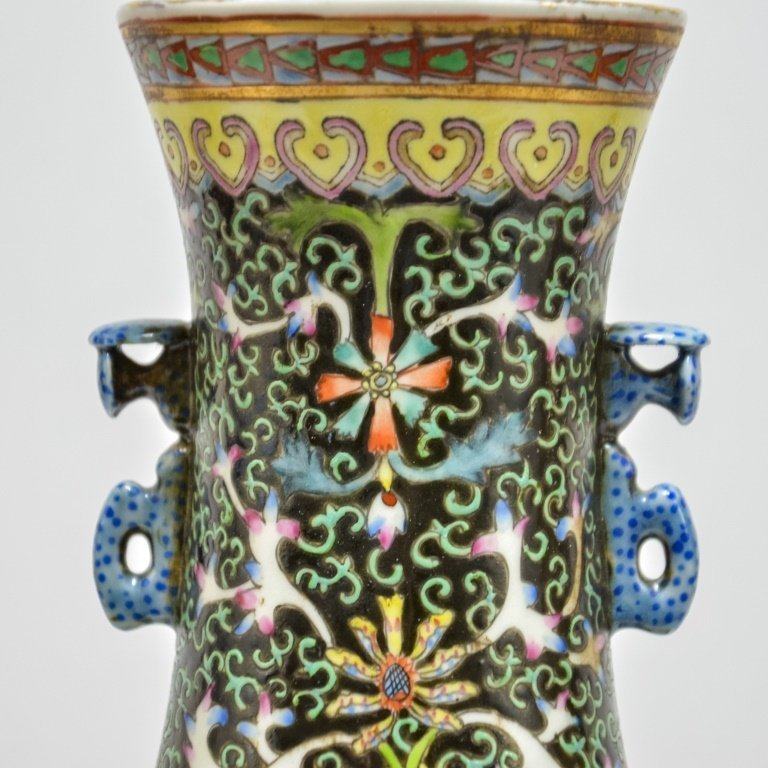 Chinese Famille Noire Green & Black Porcelain Vase - 6